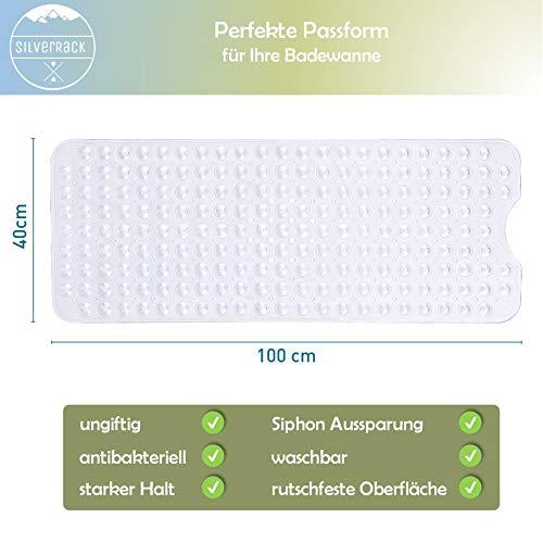 SilverRack Antirutschmatte Badewanne 100x40cm Premium Badewannenmatte f/ür sicheres Baden und Duschen BPA /& latexfreie Badematte f/ür Kinder f/ür einen besseren Halt in der Wanne
