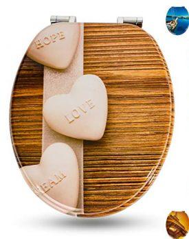 Hot Stones WC Sitz mit Absenkautomatik viele sch/öne WC Sitze zur Auswahl hochwertige und stabile Qualit/ät aus Holz