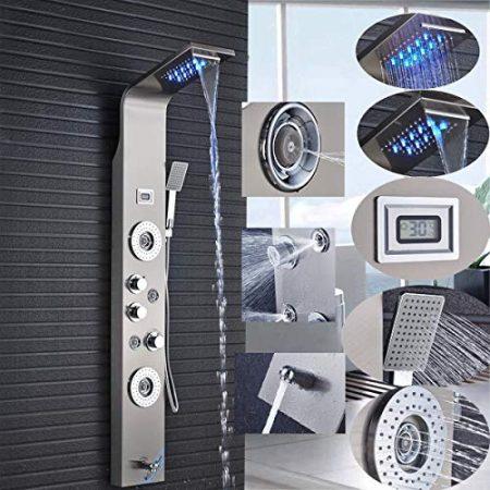 Jimmy Jet LED Duschpaneel aus rostfreiem Edelstahl mit Bidet-Funktion Temperaturanzeige und 8 Massaged/üsen Farbe Nickel geb/ürstet