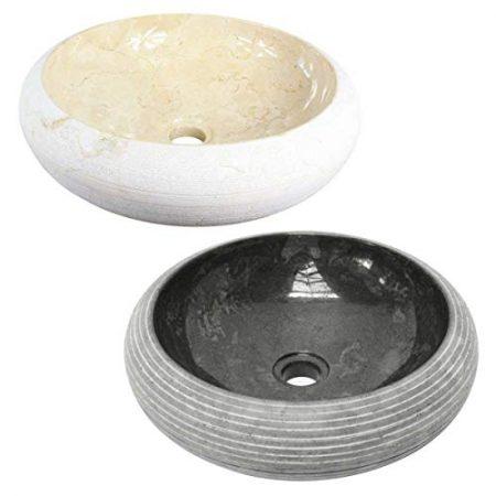 Marmorwaschbecken Rund Badezimmer Handwaschbecken Marmor Waschschale Festnight Bad-Waschbecken Schwarz Marmor 40 x 12 cm