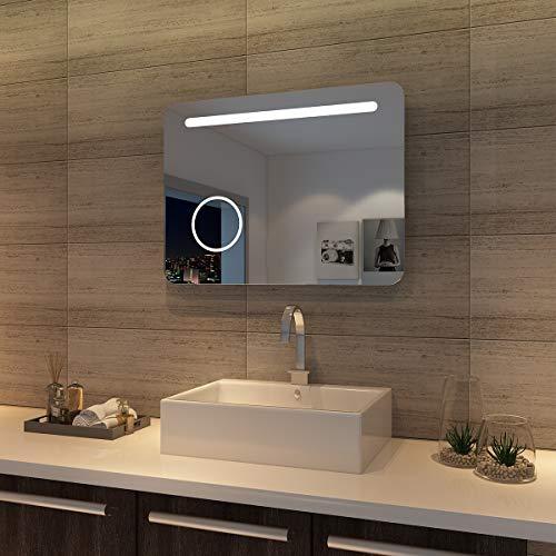 SONNI LED Bad Spiegel 80 x 60cm wandspiegel Badezimmer ...