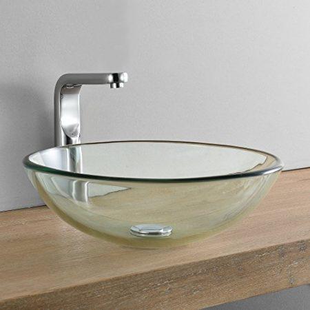 Handwaschbecken aus Glas, Waschbecken aus gehärtetem Glas & Glas Aufsatzwaschbecken